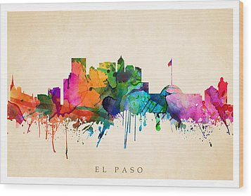 El Paso Cityscape Wood Print