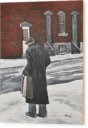 Elderly Gentleman  In Pointe St. Charles Wood Print by Reb Frost