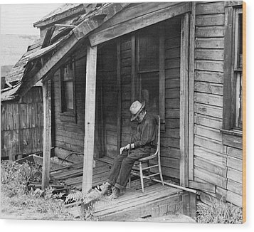 Elderly Man Doses On His Porch Wood Print by Underwood Archives