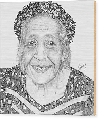 Wood Print featuring the drawing Elderly Marshallese Woman by Lew Davis