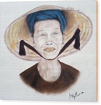 Elderly Vietnamese Woman Wearing A Conical Hat Wood Print by Jim Fitzpatrick