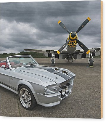 Eleanor Mustang With P51 Wood Print by Gill Billington