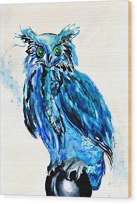 Electric Blue Owl Wood Print by Beverley Harper Tinsley