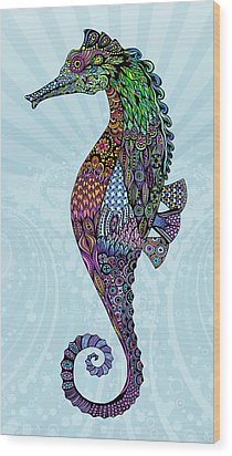 Wood Print featuring the drawing Electric Gentleman Seahorse by Tammy Wetzel