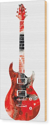 Electric Guitar - Buy Colorful Abstract Musical Instrument Wood Print by Sharon Cummings