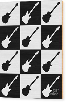 Electric Guitar Checkerboard Wood Print by Roz Abellera Art
