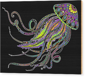Wood Print featuring the drawing Electric Jellyfish On Black by Tammy Wetzel