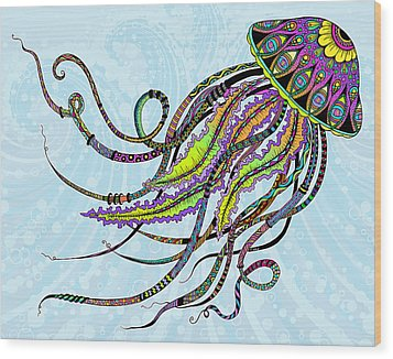 Wood Print featuring the drawing Electric Jellyfish by Tammy Wetzel