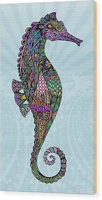 Wood Print featuring the drawing Electric Lady Seahorse  by Tammy Wetzel