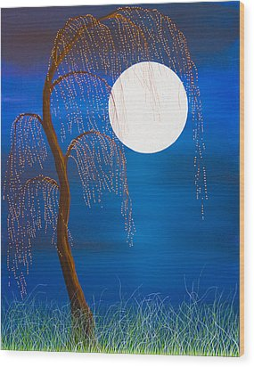 Electric Moonlight Wood Print