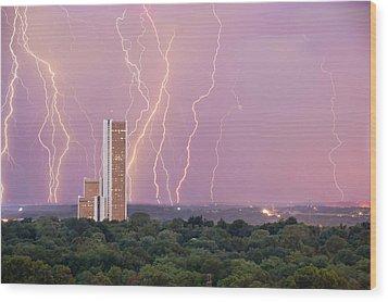 Electric Night - Cityplex Towers - Tulsa Oklahoma Wood Print by Gregory Ballos