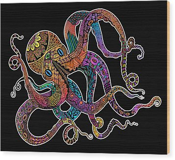 Wood Print featuring the drawing Electric Octopus On Black by Tammy Wetzel