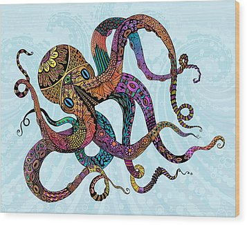 Electric Octopus Wood Print by Tammy Wetzel
