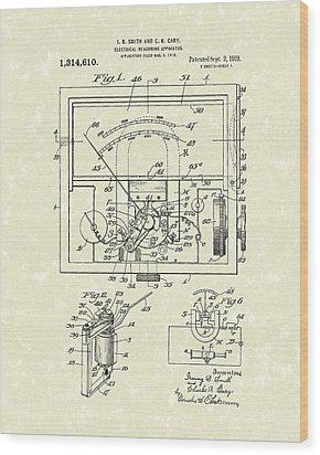 Electrical Meter 1919 Patent Art Wood Print