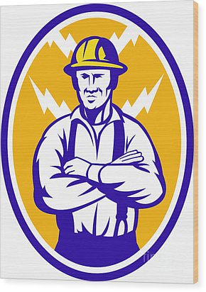 Electrician Construction Worker Lightning Bolt Wood Print by Aloysius Patrimonio