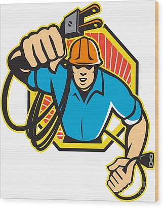 Electrician Construction Worker Retro Wood Print by Aloysius Patrimonio