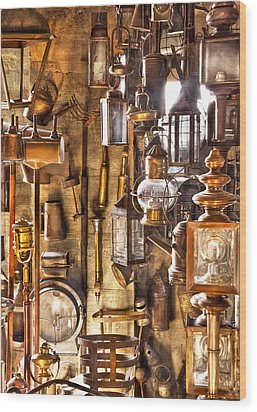 Electrician - Let There Be Light Wood Print by Mike Savad