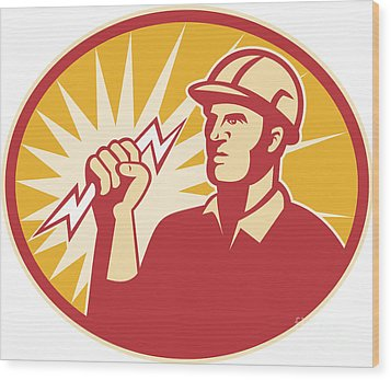 Electrician Power Line Worker Lightning Bolt Wood Print by Aloysius Patrimonio