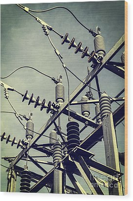 Electricity Wood Print by Edward Fielding