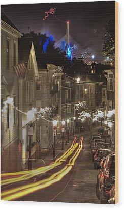 Electrified Boston Wood Print by Joann Vitali