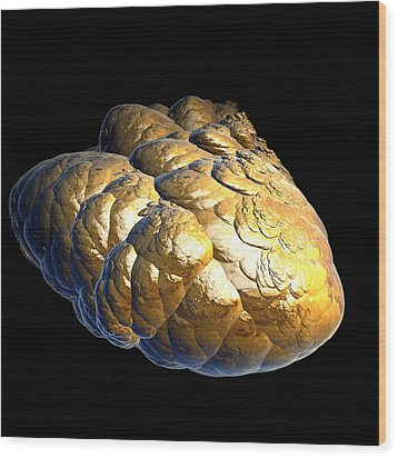 Wood Print featuring the digital art Electrified Gold Nugget by Pete Trenholm