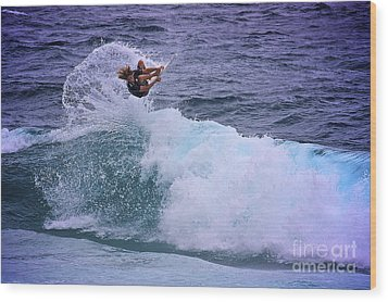 Electrifying Surfer Wood Print by Heng Tan