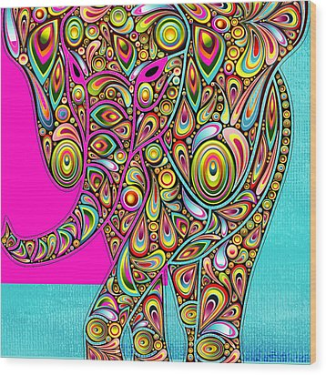 Elefantos - Bg01ac02 Wood Print by Variance Collections