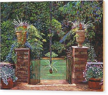 Elegant English Garden Wood Print by David Lloyd Glover