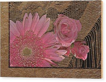 Elegant Gold Lace Wood Print by Phyllis Denton