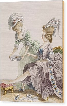 Elegant Lady Having Her Feet Washed Wood Print by Pierre Thomas Le Clerc