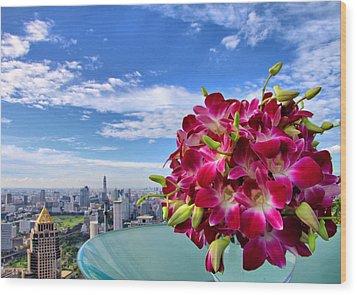 Elegant Orchids Wood Print by Suradej Chuephanich