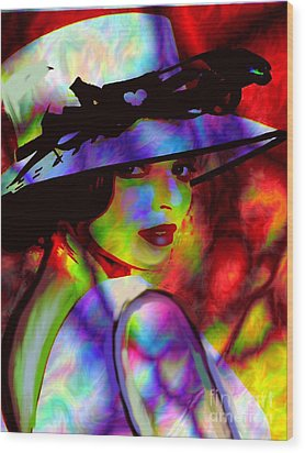 Elegant Woman In Shade Wood Print by Diana Riukas