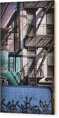 Elemental City - Fire Escape Graffiti Brownstone Wood Print by Miriam Danar
