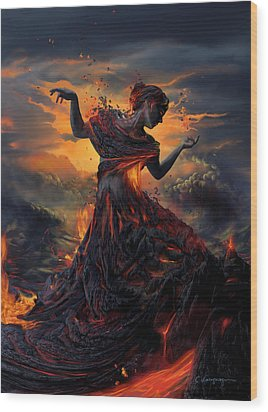Elements - Fire Wood Print by Cassiopeia Art