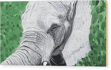 Wood Print featuring the painting Elephant 1 by Jeanne Fischer