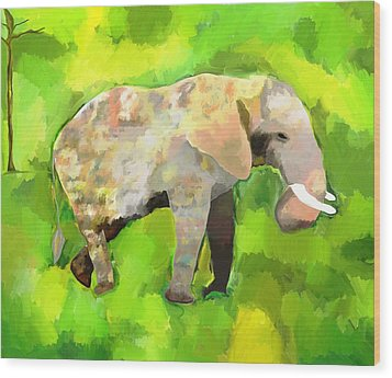 Wood Print featuring the painting Elephant 4 by Jeanne Fischer