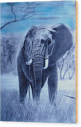 Elephant And Blue Sky Wood Print