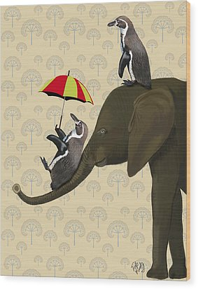 Elephant And Penguins Wood Print by Kelly McLaughlan