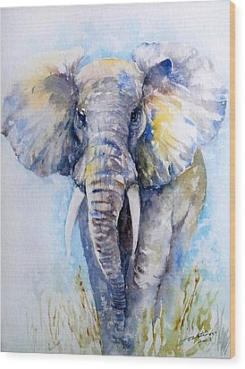 Elephant Blues Wood Print