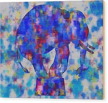 Elephant Blues Wood Print by Jack Zulli