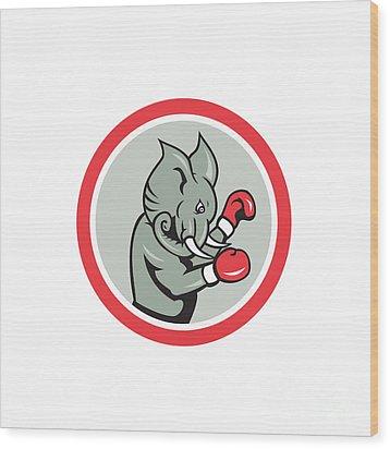 Elephant Boxer Boxing Circle Cartoon Wood Print by Aloysius Patrimonio
