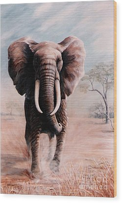 Elephant Charge Wood Print by DiDi Higginbotham