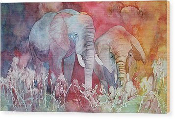 Wood Print featuring the painting Elephant Duo by Nancy Jolley