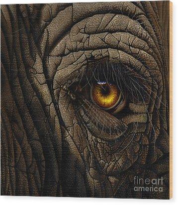 Elephant Eye Wood Print by Jurek Zamoyski