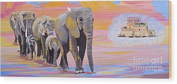 Wood Print featuring the painting Elephant Fantasy Must Open by Phyllis Kaltenbach