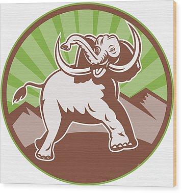 Elephant Giant Tusk Side Retro Circle Wood Print by Aloysius Patrimonio