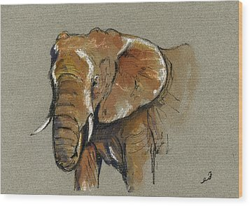 Elephant Head African Wood Print by Juan  Bosco