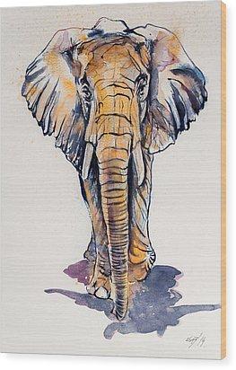 Elephant In Gold Wood Print by Kovacs Anna Brigitta