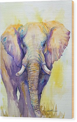 Elephant In Purple Wood Print