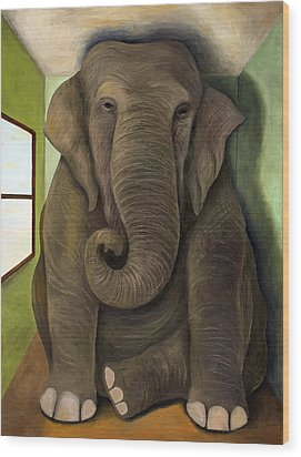 Elephant In The Room Wip Wood Print by Leah Saulnier The Painting Maniac